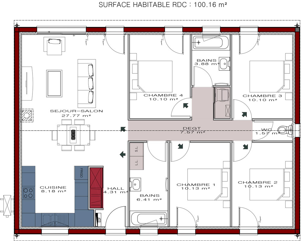 Plans de maisons igc construction for Plan interieur maison 3 chambres
