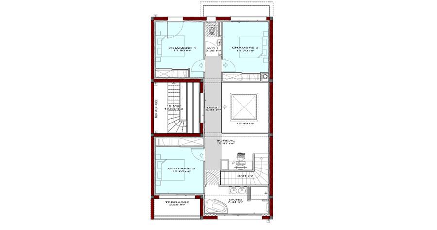 plan de maison à étage