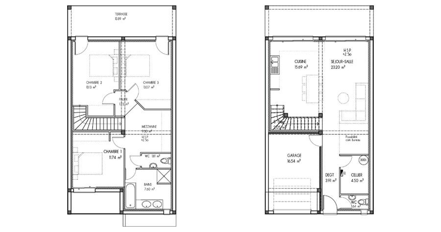 plan de construction maison r+2