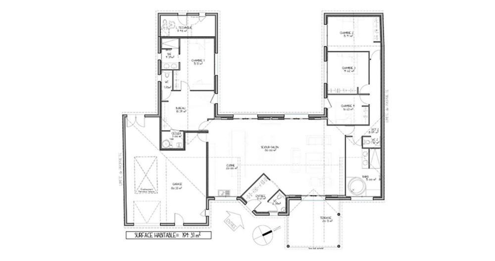modele plan de maison en u