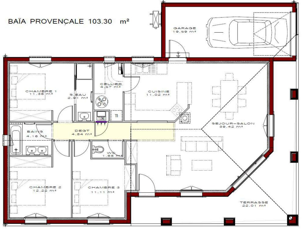Maison baia meridionale igc construction - Plan maison entree sud ...