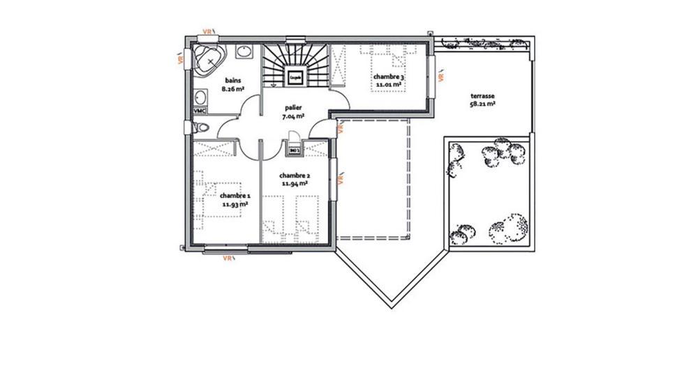 5b5e29008d035 Plan de maison moderne Chôra. Agrandir Agrandir Voir le modèle de maison