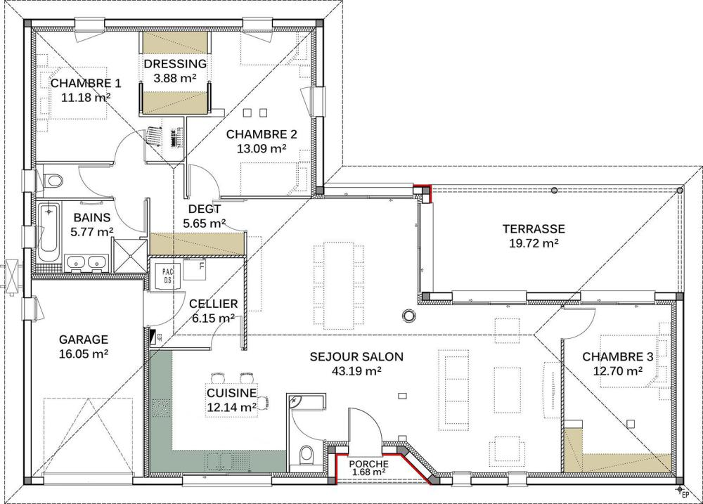Plans de maisons igc construction - Maison en l moderne ...